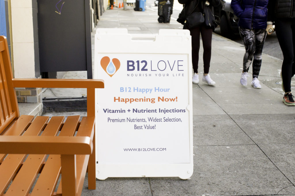 B12 Happy Hours sandwich board